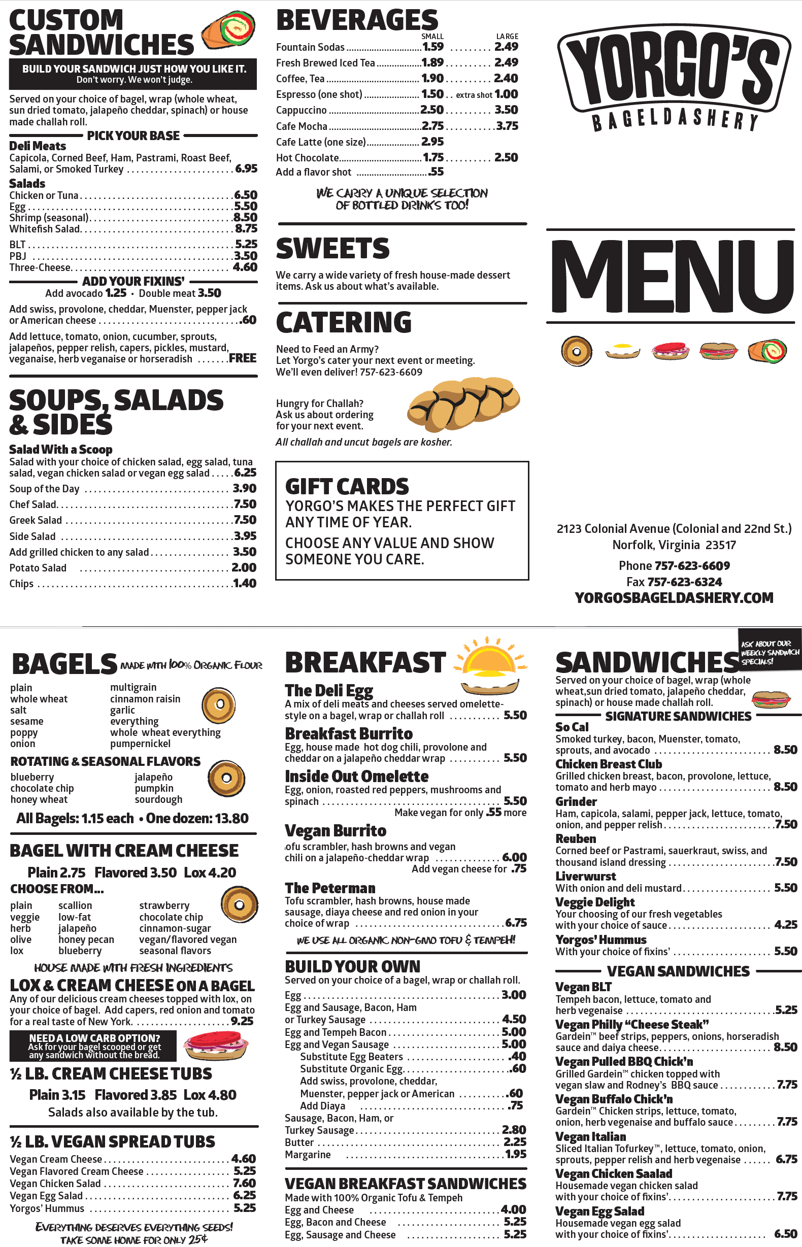 photograph regarding Printable Menu referred to as MENU Yorgos Bageldashery